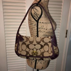 Coach tan canvas and brown leather shoulder bag